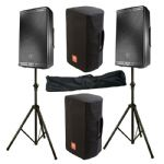 "2x JBL EON612 2000W Powered 12"" PA Speaker + Mixer + Stand + Cover 2Yr Warranty"